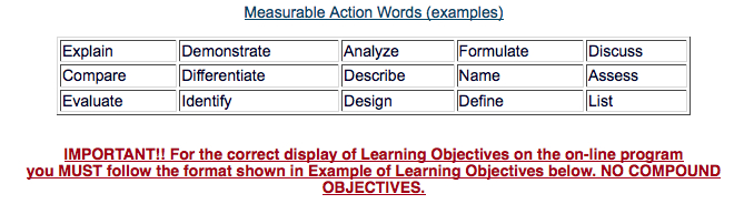 Learning objectives action words