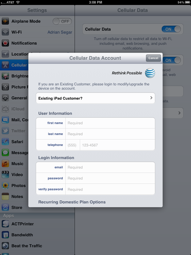 move unlimited AT&T data plan to new iPad