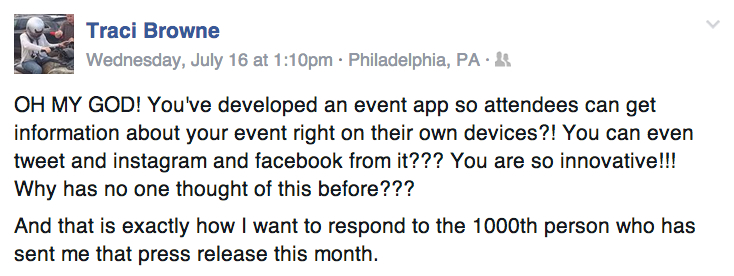 how to market event apps Traci FB comment