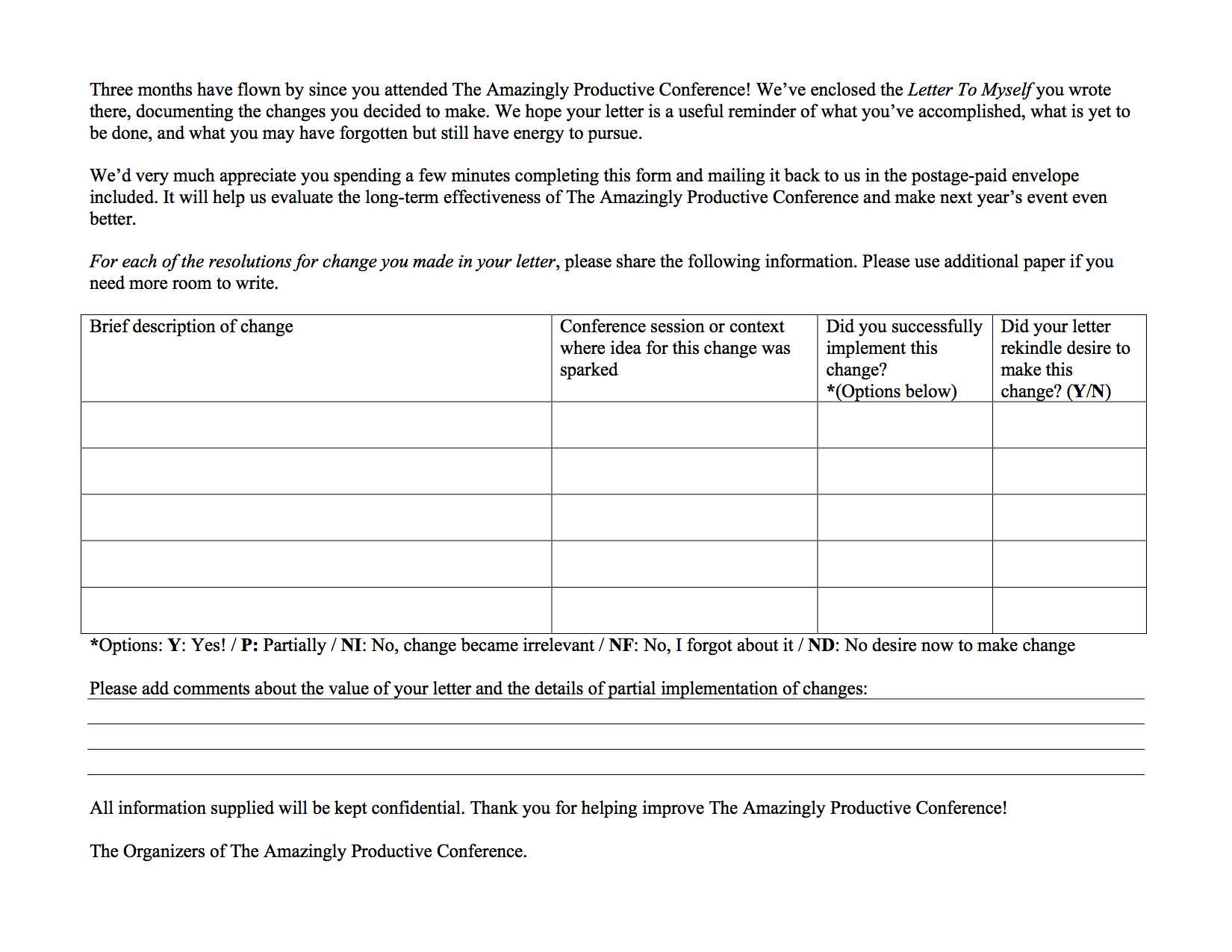 Sample Feedback Form To Be Included In The A Letter To Myself Envelope  Feedback Forms Template